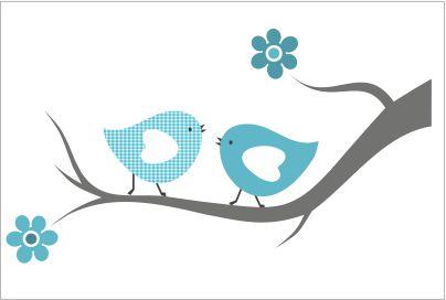 Muursticker Vogels op een tak blauw