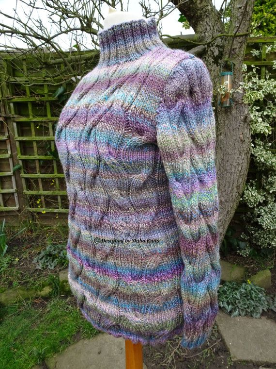 Chunky Cabled High Neck Jumper Hand knitted Soft by ShibaKnits