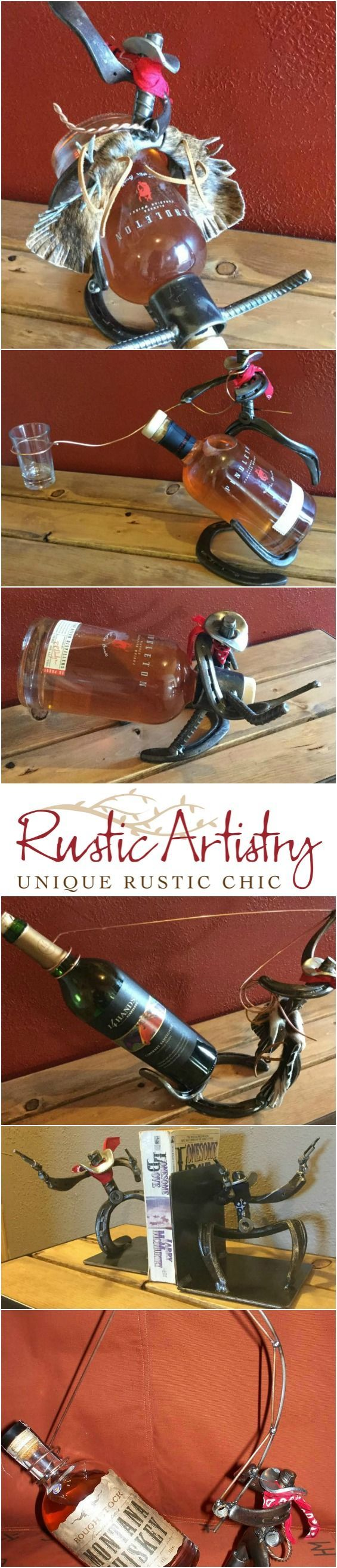 So fun! Horse shoe cowboy bottle holders and book ends. Perfect for rodeo fans. http://rusticartistry.com/product/horse-shoe-cowboy-bottle-holder/ western decorating ideas