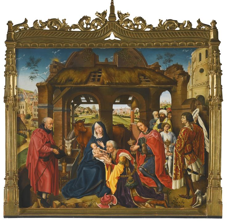 Manuel Lopez Vazquez (Granada 1920 – 2004), after Rogier van der Weyden THE ADORATION OF THE MAGI signed in the centre on the column: M.Lopez Vazquez oil on panel 89.9 by 105.4 cm.; 35 3/8  by 41 1/2  in.: