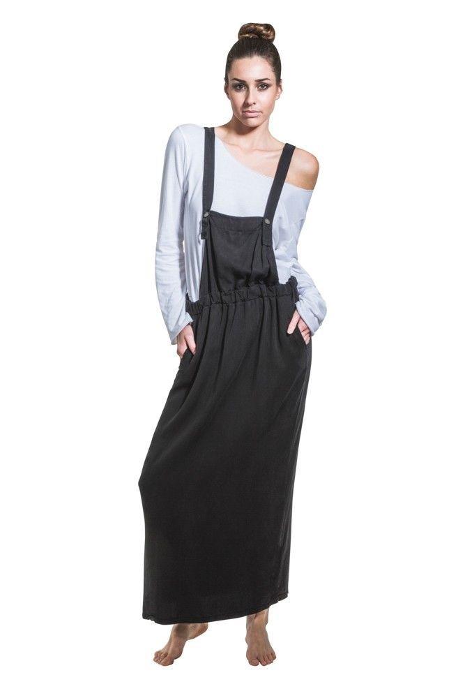 Long Bib Overall Dress - Black Maxi Loose Pinafore With T-Shirt