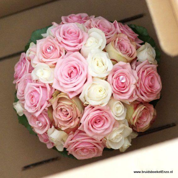 Bruidsboeket biedermeier rose wit oudroze rozen