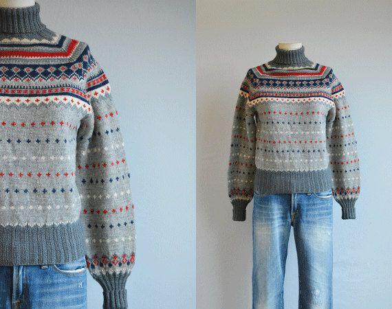 Vintage Nordic Sweater / 50s Hand Knit Wool Fair by zestvintage