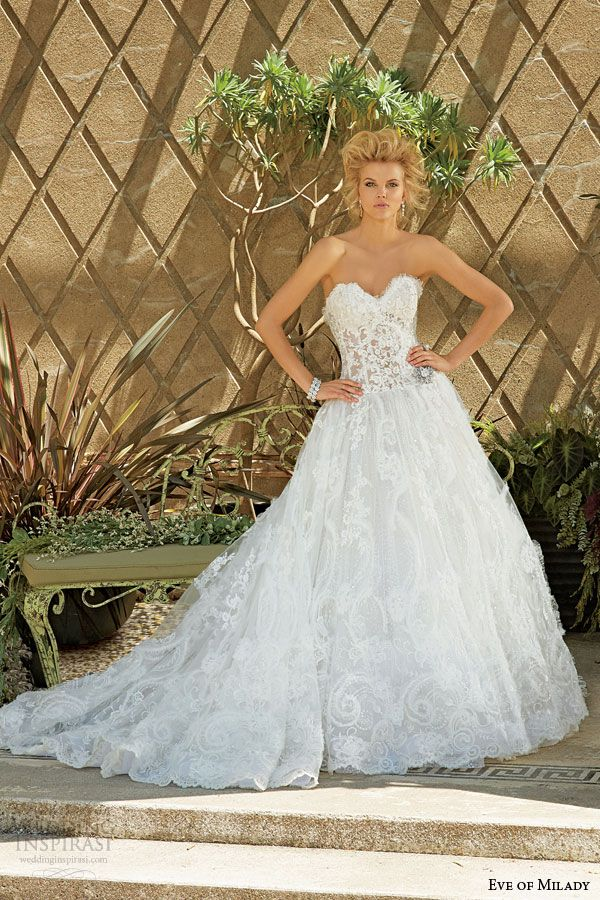 eve of milady fall 2014 2015 strapless lace ball gown wedding dress style 4325