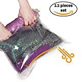 #2: 12 Travel Storage Bags for Clothes  Compression Bags for Travel  No Vacuum Sacks-Save Space in your Luggage