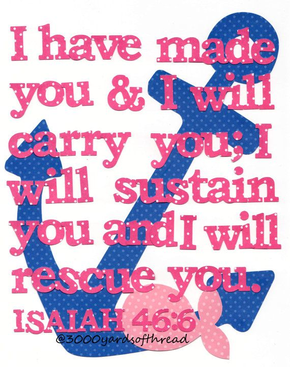 Nautical Navy blue and pink Bible Verse by 3000yardsofthread, $14.00 Isaiah Bible Verse Children's Nursery Artwork Anchor Biblical Artwork