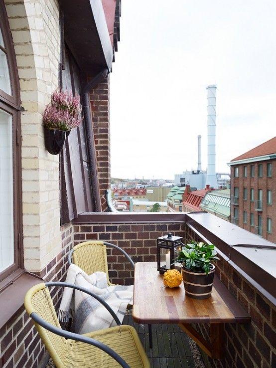 45 Cool Small Balcony Design Ideas | DigsDigs  Like the fold up table idea...