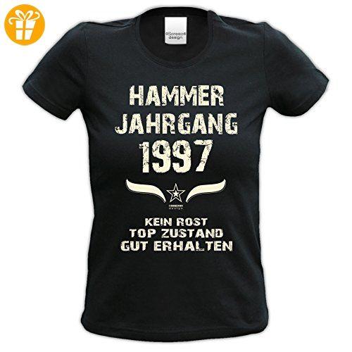 Damen Kurzarm T-Shirt Girlieshirt :-: Geburtstagsgeschenk Geschenkidee für Sie zum 20. Geburtstag :-: Hammer Jahrgang 1997 :-: Farbe: schwarz Gr: S (*Partner-Link)