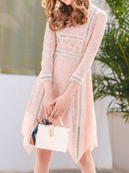 Shop Midi Dresses - Pink Pierced Floral Lace 3/4 Sleeve Midi Dress online. Discover unique designers fashion at StyleWe.com.
