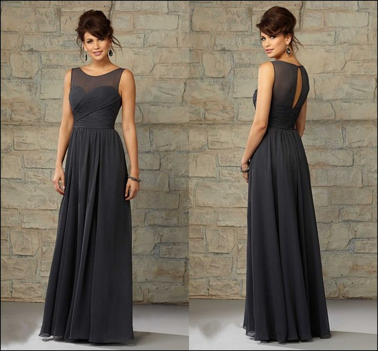 Charcoal Grey Dresses for Bridesmaid