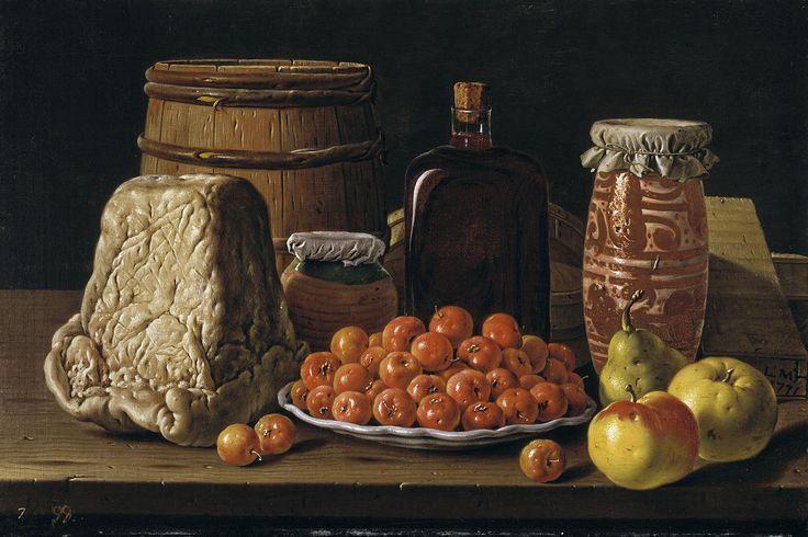 Luis Egidio Meléndez de Rivera Durazo y Santo Padre (1716-1780) — Still Life with Fruit and Cheese : Museo Nacional del Prado, Madrid. Spain (1280×853)