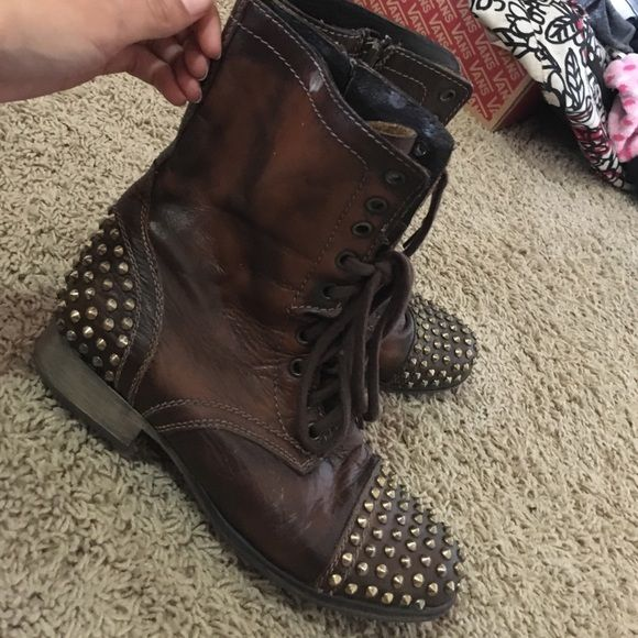 Steve Madden studded combat boots Brown studded combat boots. Perfect condition Steve Madden Shoes Combat & Moto Boots