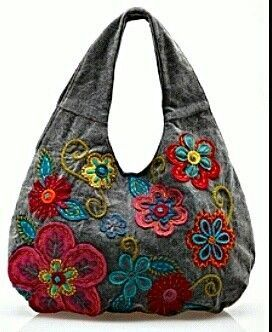 Bolsos denim y flores bordadas