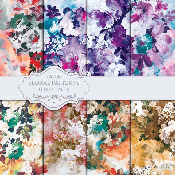 Seamless Floral Patterns  Digital Paper 8 Digital by rizapekerart #digital #papers #print #pattern #fashion #design #floral #wallpaper #seamless