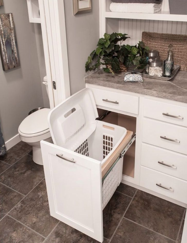 Hidden Laundry Hamper in the Bathroom Smart  Laundry Rooms  Pinterest  V -> Armario De Banheiro Com Cesto Para Roupa Suja
