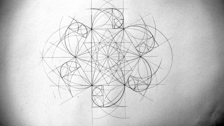 Art & Geometry:: Hexagons / hexagram or The Star of David surrounded by 6 Golden Section Spirals
