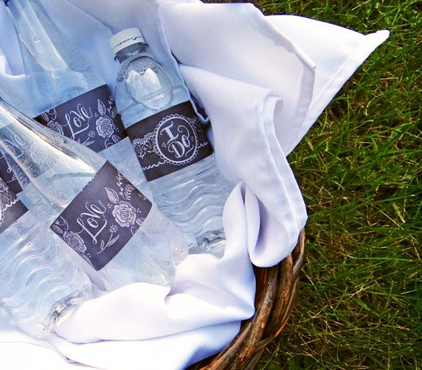 Free Chalkboard Wedding Printables: wine/water bottles, matchbook covers, favor label, and more