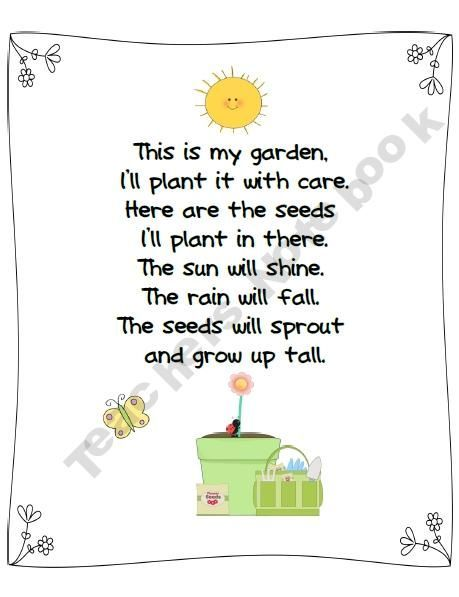 I love this little saying for the culminating activity. This could be used for when we plant our garden at the end of the unit. Also use it again to send home seeds with the kids to plant with their families: