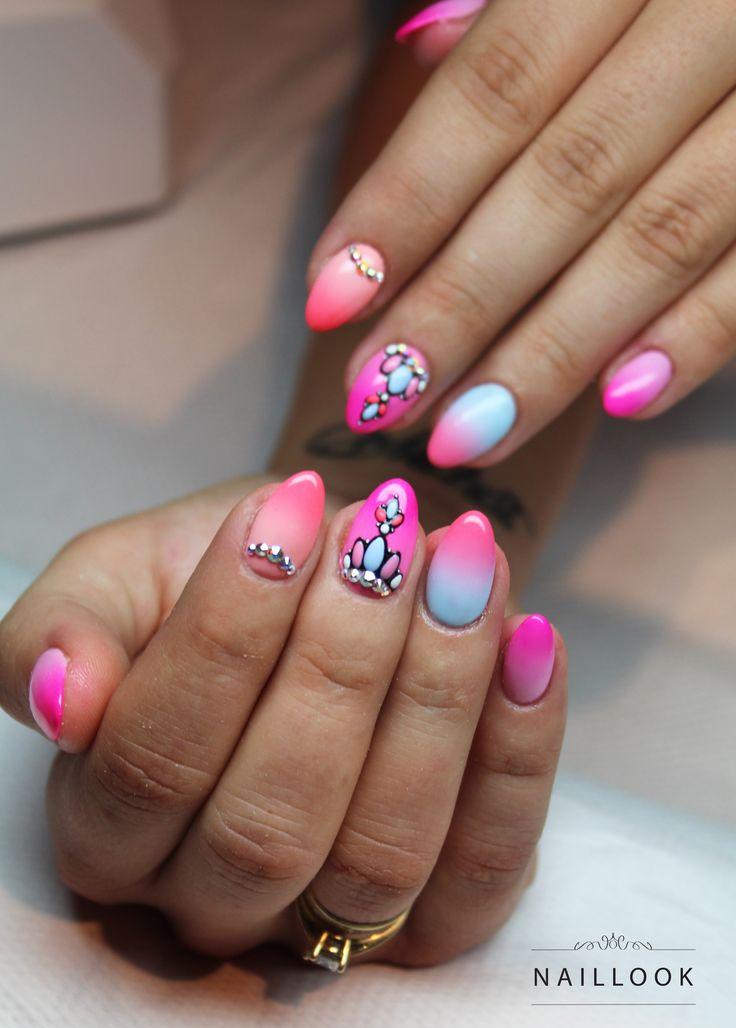 Ombre + zdobienie strukturowe Szkolenia i stylizacja paznokci www.naillook.pl #nail #nails #ombre #ombrenail #ombrenails #summer #summernails #gelnail #nailart #swarovski #mani #paznokcie #zdobienia