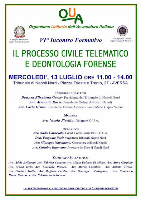 """Studio Legale Buonomo - Diritto Previdenziale ed Assistenziale: Evento Formativo """"P.C.T. e Deonotologia Forense"""", ..."""