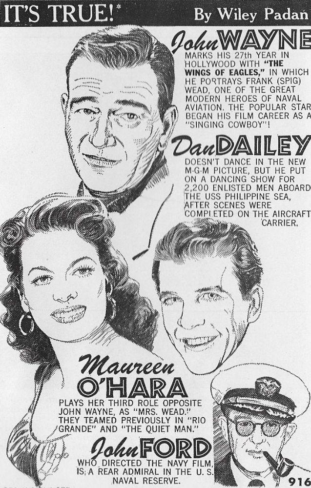 Maureen O'Hara, John Wayne, John Ford, and Dan Dailey in The Wings of Eagles (1957) - Publicity artwork for newspaper use.
