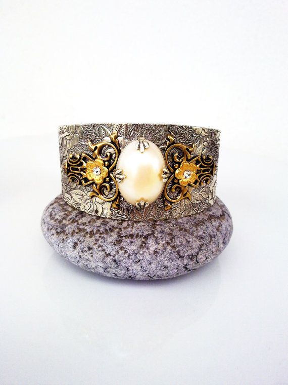 Victorian Cuff Bracelet Silver Gold Brass Pearl Floral Vintage Style Jewelry