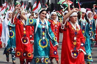 Tajikistan girls participating in Navruz parade in Dushanbe