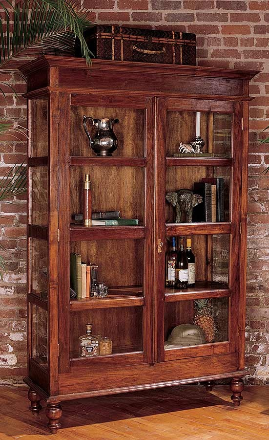 Mahogany Curio Cabinet Glass Doors Antique Style Style