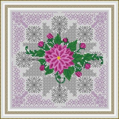Azulejos Series – Aster (Blackwork + Cross stitch) – Tree of Dreams