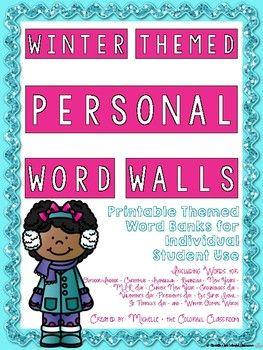 Winter Themed Personal Word Walls {Printable Word Banks: Individual Student Use}