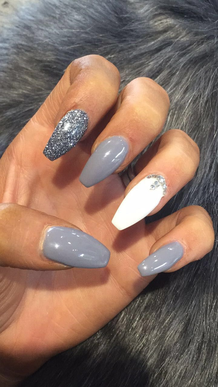 Nailspo Grey White Glitter Nails Coffin Shape White Glitter Nails Grey Acrylic Nails White Acrylic Nails