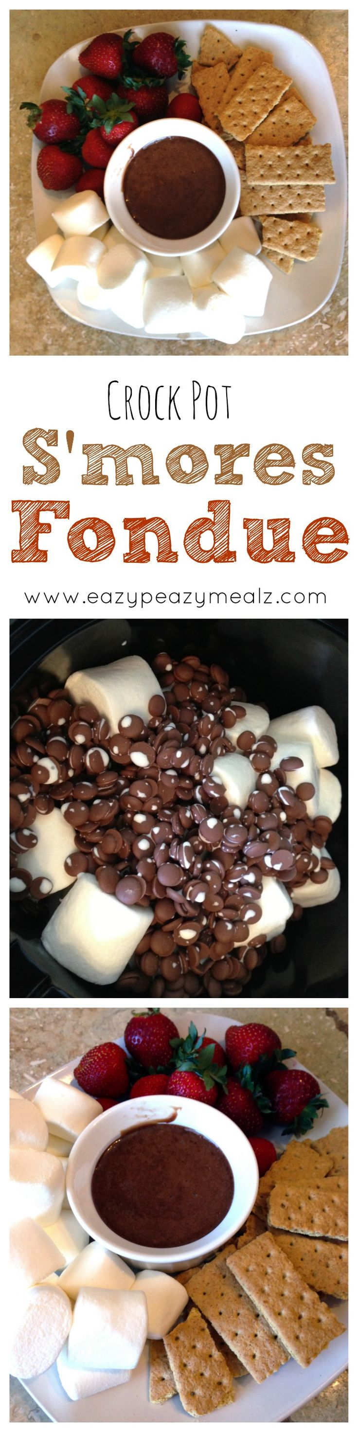 Crock Pot Smores Fondue: Throw a few simple ingredients in the crock pot, let cook, and you have this absolutely sinful S'MORES Fondue! Amazing stuff. Perfect for dinner parties. - Eazy Peazy Mealz