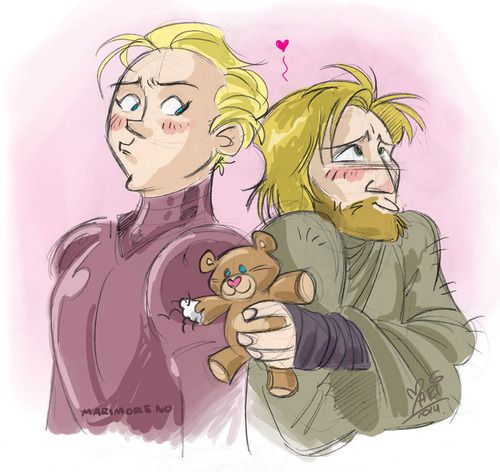 A super late and super quick Valentine sketch of one of my OTPs from GOT ;__; Brienne and Jaime (actually my first one, so be gentle pls!) No, Jaime, that's not an appropriate present, omg.