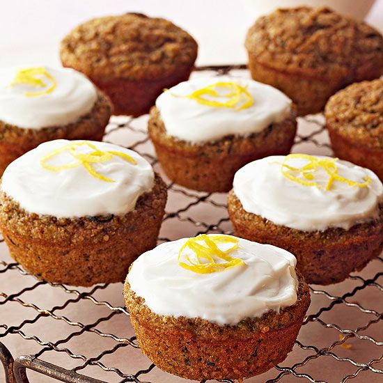 Zucchini Cupcakes with Greek Yogurt Frosting (quinoa, applesauce ...