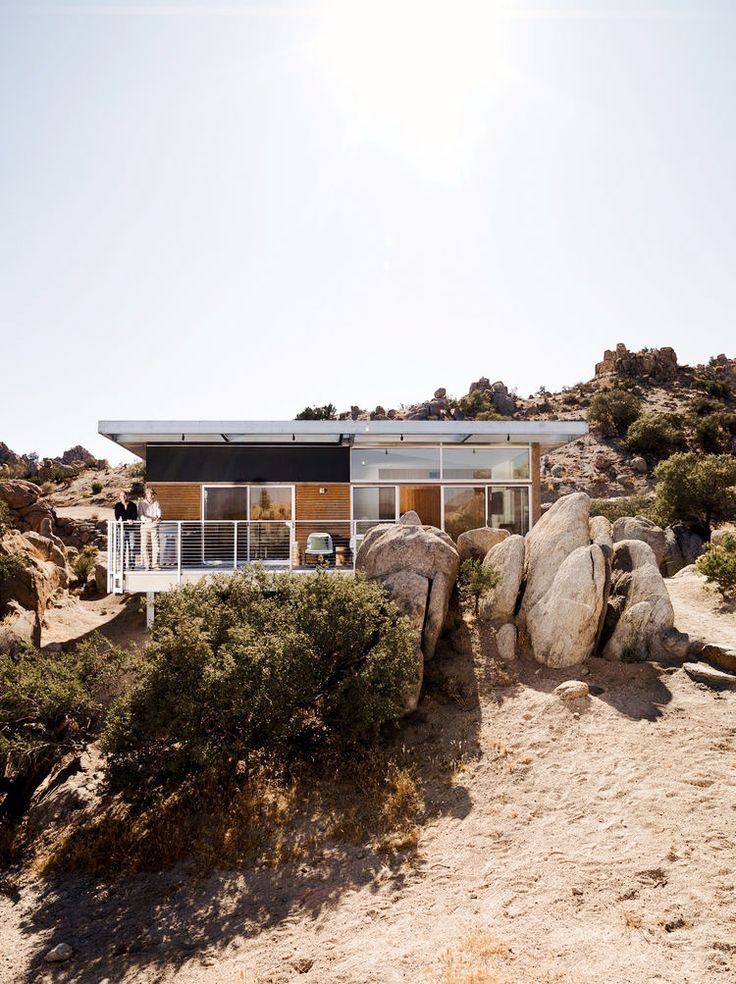 Desert prefab home on stilts