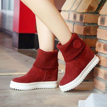 Winter Wedge Ankle Boots Low Heels Flock