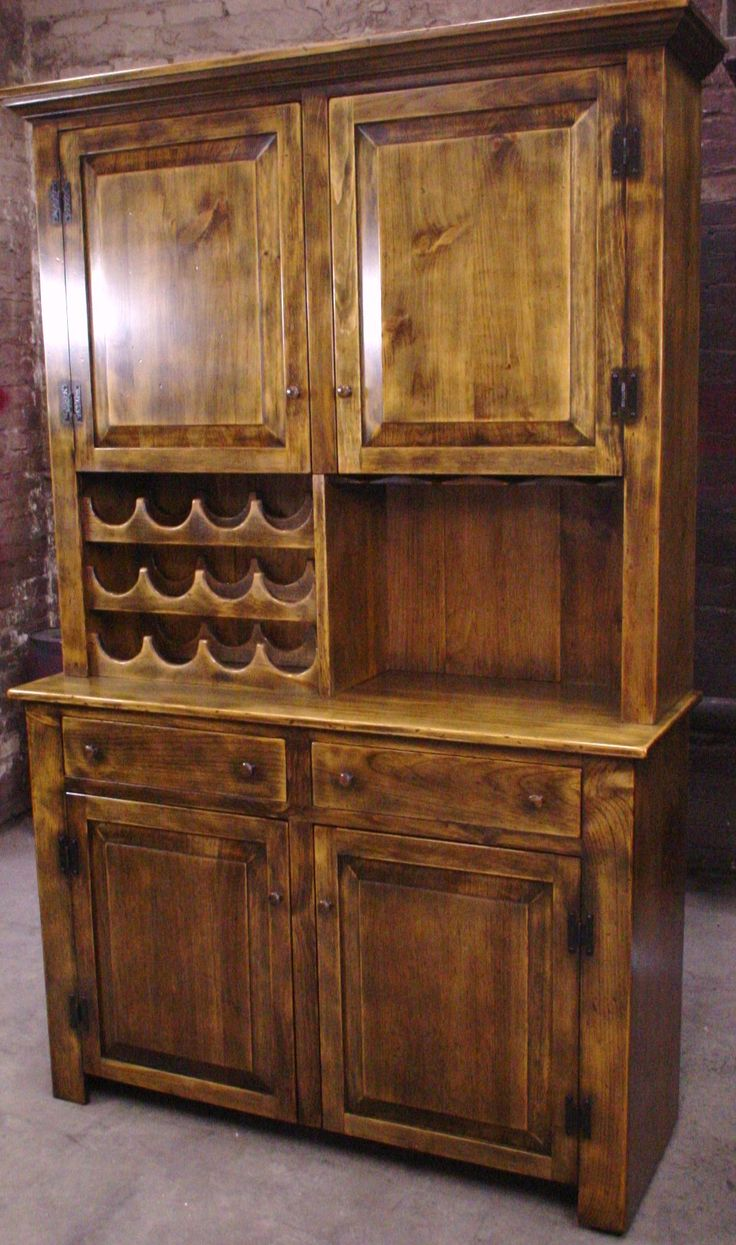 wine hutch shown antiqued stainedhas