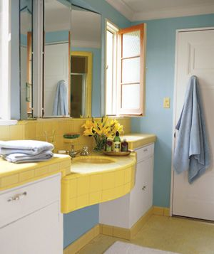 17 best decorating around old school bathroom tile images for Yellow and blue bathroom ideas