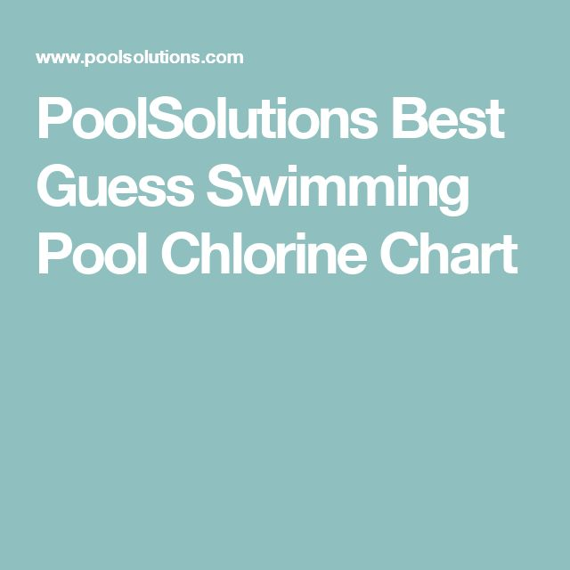 PoolSolutions Best Guess Swimming Pool Chlorine Chart