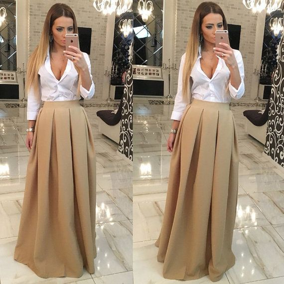 Beige maxi skirt.  Material- viscose + poliester. Good quality fabric.  Very beautyful and trend color.  Full skirt length with belt- 110cm,