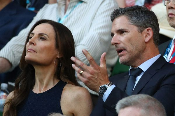 Eric Bana and his wife Rebecca Gleeson attend the Men's Singles Final match between Roger Federer of Switzerland and Rafael Nadal of Spain on day 14 of the 2017 Australian Open at Melbourne Park on January 29, 2017 in Melbourne, Australia.