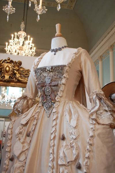 I know it's a costume that was based off actual descriptions of the Duchess of Devonshire's actual dress, but I think her real dress was much more grand.  Georgiana's wedding dress in The Duchess.