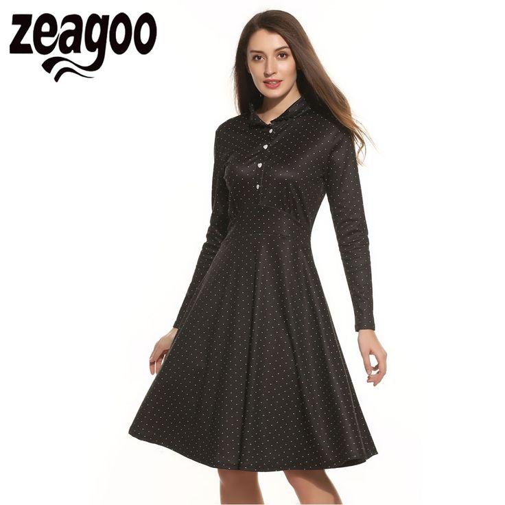 Zeagoo Vintage Dress Elegant Turn Down Collar High Waist Rockabily Dress Autumn Long Sleeve DotsVestidos de Fiesta Plus Size #Affiliate