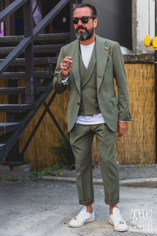 Olive. Green. Casual suiting