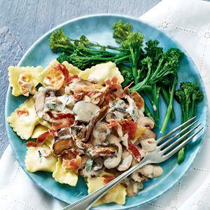 Recept - Ravioli met paddenstoelen en pancetta - Allerhande