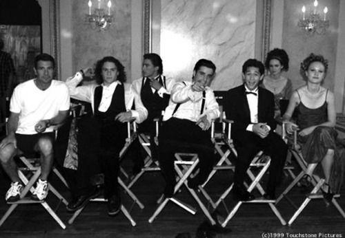 "Joseph Gordon-Levitt with his co-stars from the movie ""10 Things I Hate About You"". Heath Ledger, Andrew Keegan, David Krumholtz, Larisa Oleynik, and Juila Stiles......"