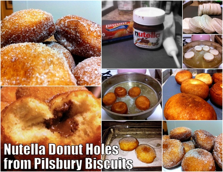 Cheater Nutella donuts from Pilsbury Biscuits: Fry them in oil, roll ...