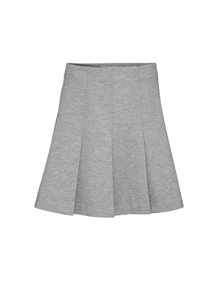 Drem skirt - Women's light grey circle skirt in viscose-blend. Features concealed side zip closure. Darts from waistline to hip for slim fit at upper part. Open pleats below darts. Regular waist. Mid-thigh length.
