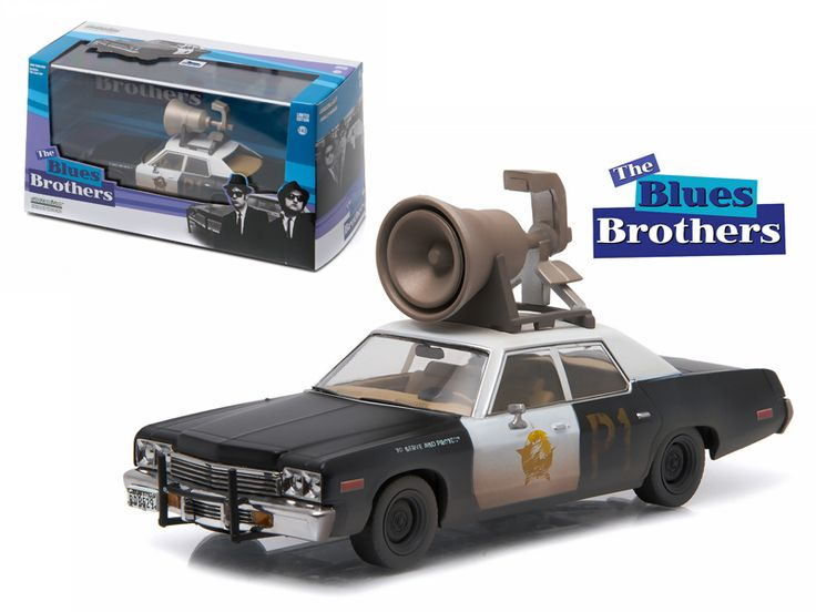 """1974 Dodge Monaco """"Bluesmobile"""" Blues Brothers Movie (1980 ) with Speaker on Roof 1/43 Diecast Model Car by Greenlight - Type a description for this product here.-Weight: 1. Height: 5. Width: 9. Box Weight: 1. Box Width: 9. Box Height: 5. Box Depth: 5"""