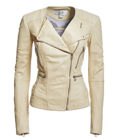 Images of Ladies Cream Leather Jackets - Reikian